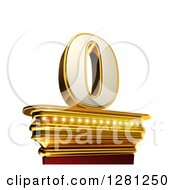 Clipart Of A 3d 0 Number Zero On A Gold Pedestal Over White Royalty Free Illustration by stockillustrations