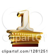 Clipart Of A 3d 1 Number One On A Gold Pedestal Over White Royalty Free Illustration