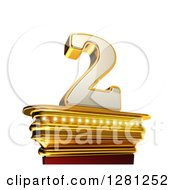 Clipart Of A 3d 2 Number Two On A Gold Pedestal Over White Royalty Free Illustration by stockillustrations