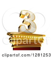Clipart Of A 3d 3 Number Three On A Gold Pedestal Over White Royalty Free Illustration by stockillustrations