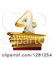 Clipart Of A 3d 4 Number Four On A Gold Pedestal Over White Royalty Free Illustration by stockillustrations