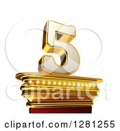 Clipart Of A 3d 5 Number Five On A Gold Pedestal Over White Royalty Free Illustration by stockillustrations
