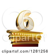 Clipart Of A 3d 6 Number Six On A Gold Pedestal Over White Royalty Free Illustration by stockillustrations