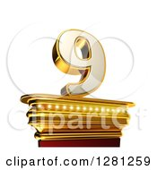 Clipart Of A 3d 9 Number Nine On A Gold Pedestal Over White Royalty Free Illustration by stockillustrations
