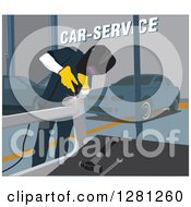 Clipart Of A Male Garage Worker Welding A Car Part Royalty Free Vector Illustration by David Rey