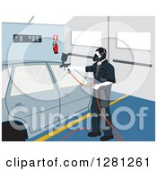 Clipart Of A Male Garage Worker Painting A Car Royalty Free Vector Illustration by David Rey
