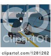 Clipart Of A Male Garage Worker Changing A Car Tire Royalty Free Vector Illustration by David Rey