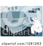 Clipart Of A Male Garage Worker Painting The Rear End Of A Car Royalty Free Vector Illustration by David Rey