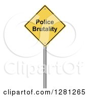 3d Yellow Police Brutality Warning Sign Over White