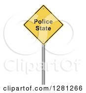 Clipart Of A 3d Yellow Police State Warning Sign Over White Royalty Free Illustration by oboy