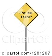 Clipart Of A 3d Yellow Police Terror Warning Sign Over White Royalty Free Illustration