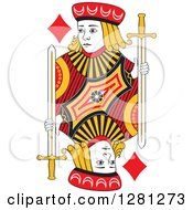 Clipart Of A Borderless Red Black And Yellow Jack Of Diamonds Playing Card Royalty Free Vector Illustration