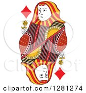 Clipart Of A Borderless Red Black And Yellow Queen Of Diamonds Playing Card Royalty Free Vector Illustration