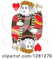 Clipart Of A Borderless Red Black And Yellow King Of Hearts Playing Card Royalty Free Vector Illustration