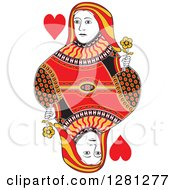 Clipart Of A Borderless Red Black And Yellow Queen Of Hearts Playing Card Royalty Free Vector Illustration