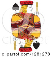 Clipart Of A Borderless Red Black And Yellow Jack Of Spades Playing Card Royalty Free Vector Illustration