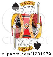 Clipart Of A Borderless Red Black And Yellow King Of Spades Playing Card Royalty Free Vector Illustration