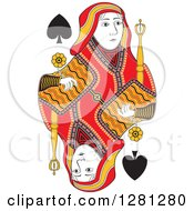 Clipart Of A Borderless Red Black And Yellow Queen Of Spades Playing Card Royalty Free Vector Illustration
