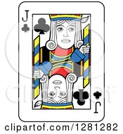 Clipart Of A Jack Of Clubs Playing Card Royalty Free Vector Illustration