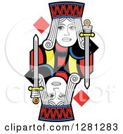 Clipart Of A Borderless Jack Of Diamonds Playing Card Royalty Free Vector Illustration