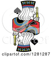Clipart Of A Borderless Jack Of Spades Playing Card Royalty Free Vector Illustration