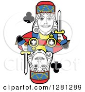 Clipart Of A Borderless King Of Clubs Playing Card Royalty Free Vector Illustration