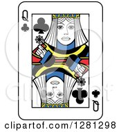 Queen Of Clubs Playing Card by Frisko