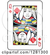 Queen Of Diamonds Playing Card by Frisko