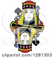 Borderless Queen Of Spades Playing Card by Frisko