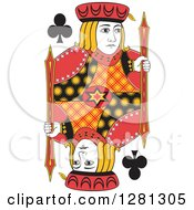 Borderless Red Black And Yellow Jack Of Clubs Playing Card