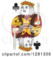 Clipart Of A Borderless Red Black And Yellow King Of Clubs Playing Card Royalty Free Vector Illustration