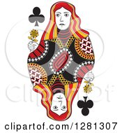 Clipart Of A Borderless Red Black And Yellow Queen Of Clubs Playing Card Royalty Free Vector Illustration