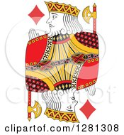 Clipart Of A Borderless Red Black And Yellow King Of Diamonds Playing Card Royalty Free Vector Illustration