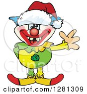 Clipart Of A Friendly Waving Clown Wearing A Christmas Santa Hat Royalty Free Vector Illustration by Dennis Holmes Designs
