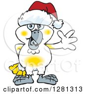 Clipart Of A Friendly Waving Cockatoo Wearing A Christmas Santa Hat Royalty Free Vector Illustration