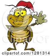 Clipart Of A Friendly Waving Cockroach Wearing A Christmas Santa Hat Royalty Free Vector Illustration by Dennis Holmes Designs
