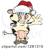 Clipart Of A Friendly Waving Holstein Cow Wearing A Christmas Santa Hat Royalty Free Vector Illustration by Dennis Holmes Designs