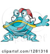 Clipart Of A Friendly Waving Blue Crab Wearing A Christmas Santa Hat Royalty Free Vector Illustration
