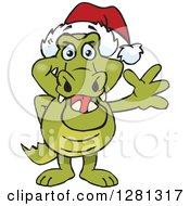 Clipart Of A Friendly Waving Crocodile Wearing A Christmas Santa Hat Royalty Free Vector Illustration