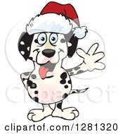 Clipart Of A Friendly Waving Dalmatian Dog Wearing A Christmas Santa Hat Royalty Free Vector Illustration by Dennis Holmes Designs