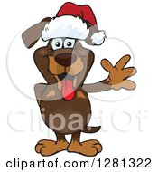 Clipart Of A Friendly Waving Dachshund Dog Wearing A Christmas Santa Hat Royalty Free Vector Illustration