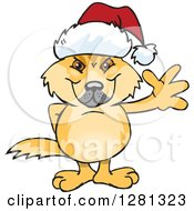 Friendly Waving Dingo Wearing A Christmas Santa Hat
