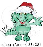 Clipart Of A Friendly Waving Stegosaur Dinosaur Wearing A Christmas Santa Hat Royalty Free Vector Illustration