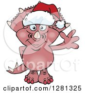 Clipart Of A Friendly Waving Triceratops Dinosaur Wearing A Christmas Santa Hat Royalty Free Vector Illustration by Dennis Holmes Designs