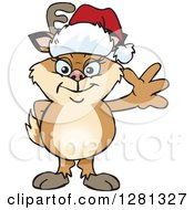 Clipart Of A Friendly Waving Doe Deer Wearing A Christmas Santa Hat Royalty Free Vector Illustration