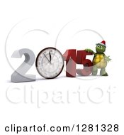 Clipart Of A 3d Tortoise Resting On New Year 2015 With A Clock Nearing Midnight Royalty Free Illustration