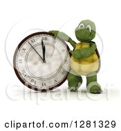 Clipart Of A 3d Tortoise Leaning On And Pointing To A New Year Wall Clock Nearing Midnight Royalty Free Illustration