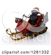 Clipart Of A 3d Blue Android Robot Wearing A Hat And Flying Santas Sleigh Royalty Free Illustration by KJ Pargeter