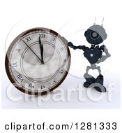 Clipart Of A 3d Blue Android Robot Pointing To And Leaning On A New Year Wall Clock Approaching Midnight Royalty Free Illustration
