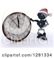 Clipart Of A 3d Blue Android Robot Wearing A Santa Hat And Pointing To And Leaning On A New Year Wall Clock Approaching Midnight Royalty Free Illustration